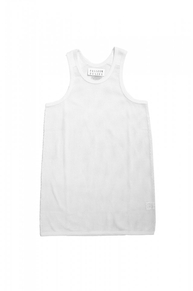el conductorH - COTTON MESH LONGLENGTH TANKTOP (WHITE)
