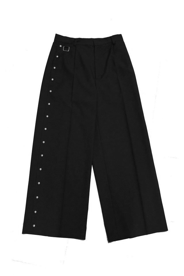TENDER PERSON - BALL STUDS WIDE SLACKS(BLACK) 2021SSCOLLECTION