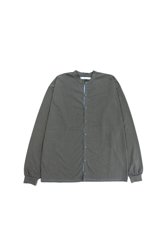 MUZE TURQUOISE LABEL - CREW NECK COTTON CUT AND SEW CARDIGAN(GRAY)
