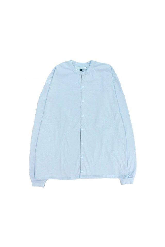 MUZE TURQUOISE LABEL - CREW NECK COTTON CUT AND SEW CARDIGAN(LIGHT BLUE)