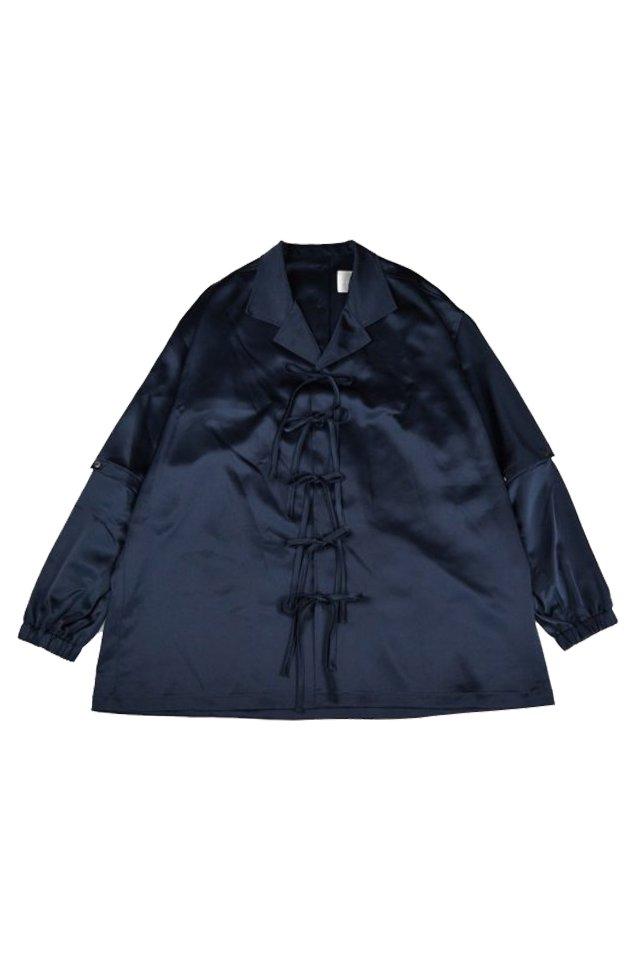kenichi. - Satin pajama shirt(Navy)