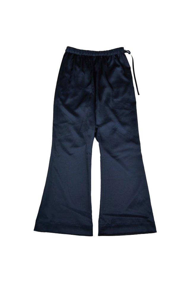 kenichi. - Satin flare trousers(Navy)