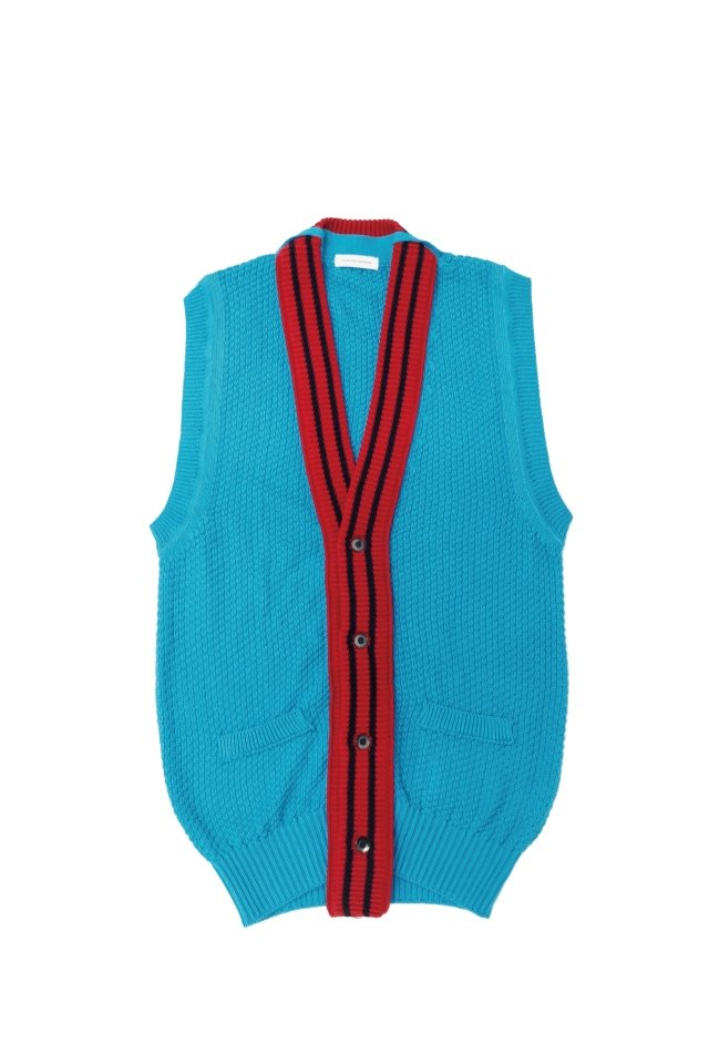 TENDER PERSON - RIB DOCKING KNIT VEST(BLUE) 2021AW COLLECTION