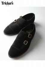 Tricker's -  DOUBLE MONK STRAIGHT TIP (BLACK・REPELLO SUEDE)