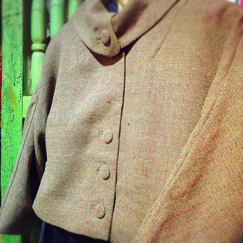 Brown Roll Collar Jacket
