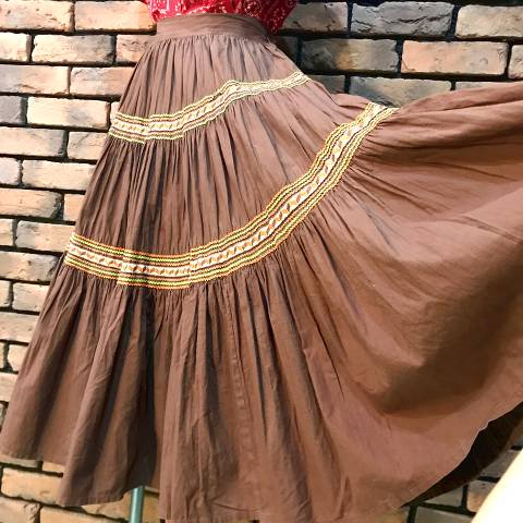Brown Mexican Squaw Tiered Skirt