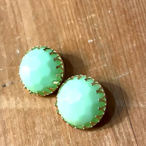 Mint Green Ball Earrings
