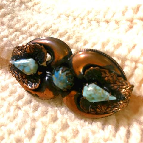 Turquoise x Copper Brooch