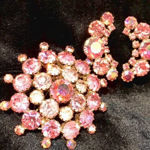 Pink Rhinestone Brooch & Earrings