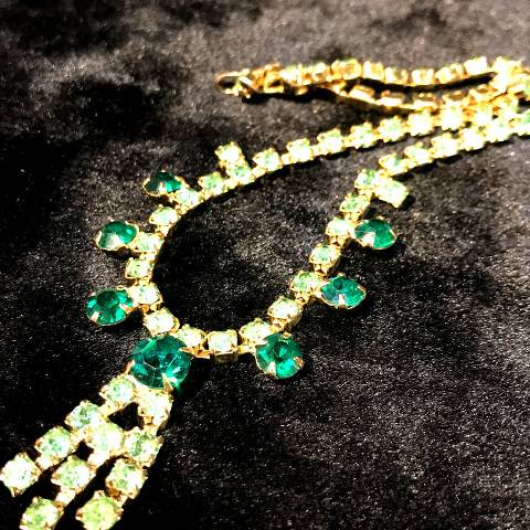 Green Rhinestone Dangles Necklace
