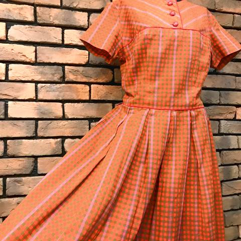 Orange Plaid Cotton Dress