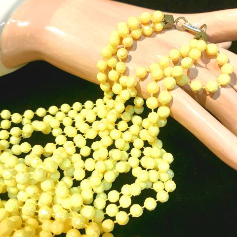 Yellow 3 Strand Long Necklace