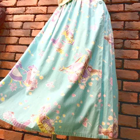Light Blue Novelty Printed Skirt