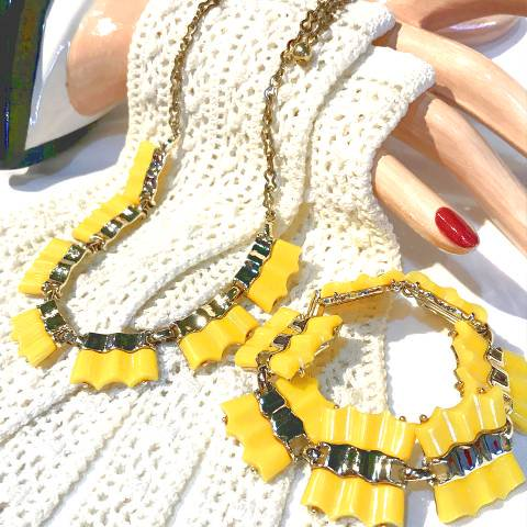 Yellow Zigzag Necklace & Bracelet