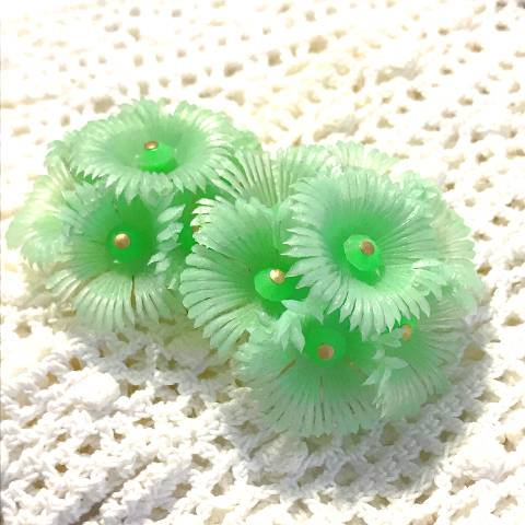 Mint Green Soft Plastic Flower Earrings