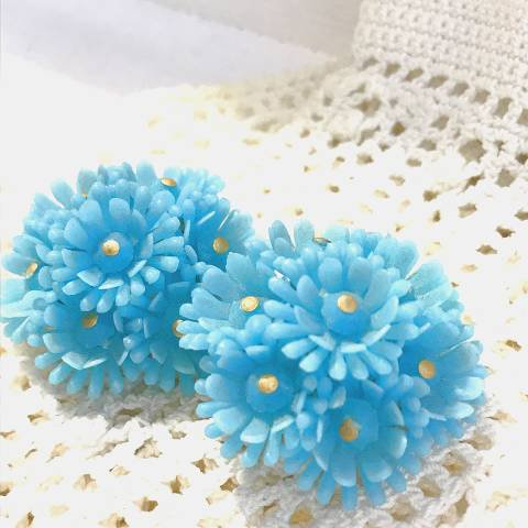 L.Blue Soft Plastic Flower Earrings