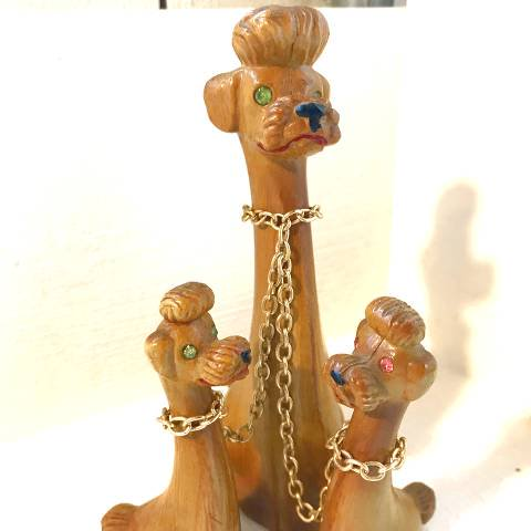 Wooden Poodle Family Decor