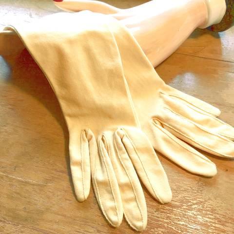 Yellow Beige Nylon Gloves