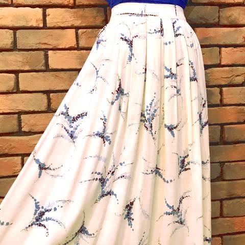Blue Floral Linen Skirt