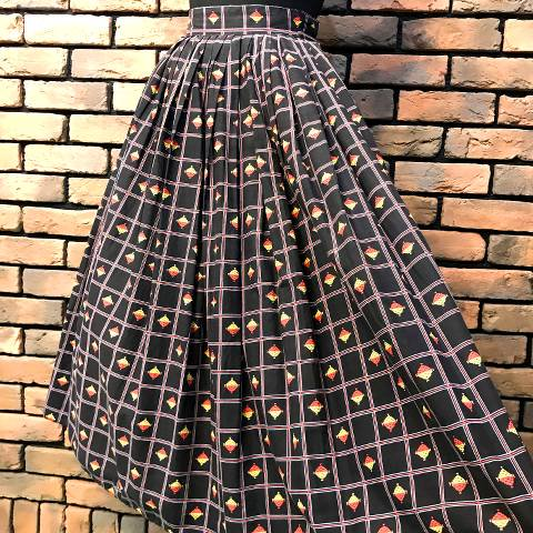 Black Geometric Pattern Skirt