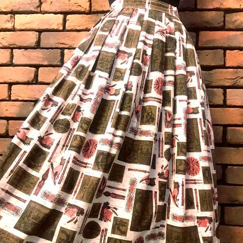 Novelty Print Flared Skirt