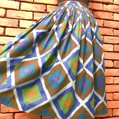 Blue Geometric Pattern Skirt