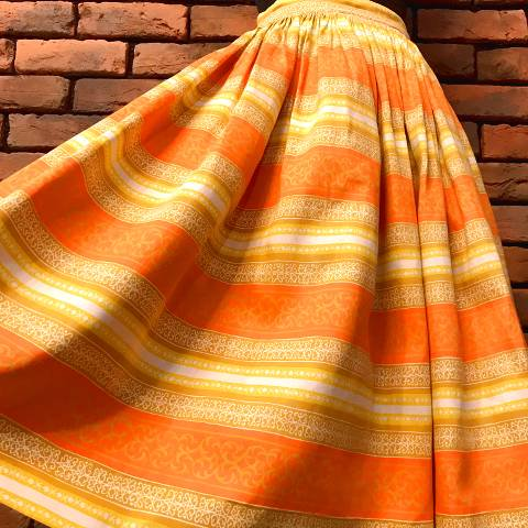 Orange Border Gathered Skirt