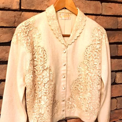 Lace Collared Cashmere Cardigan