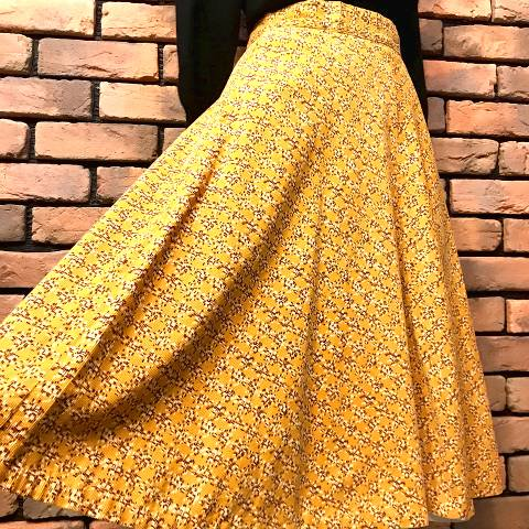 Corduroy Print Flared Skirt
