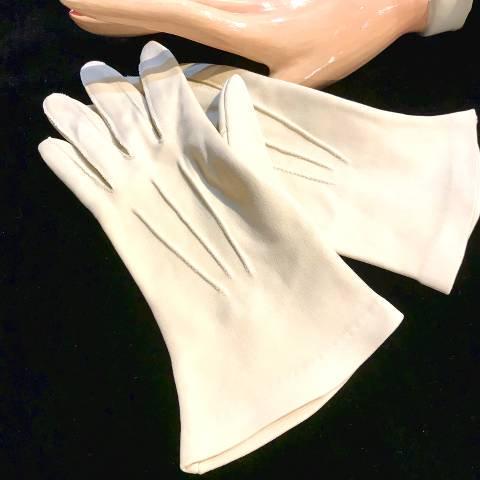 Grey Beige Cotton Knit Gloves