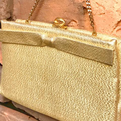 Gold Bow Clutch Purse