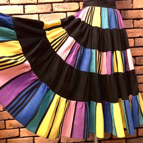 Colorful Striped Tiered Skirt