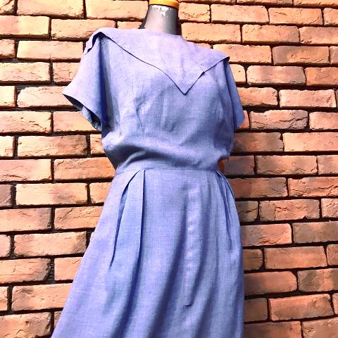 40's Blue Rayon Dress
