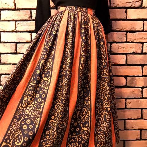Orange x Black Striped Pattern Skirt