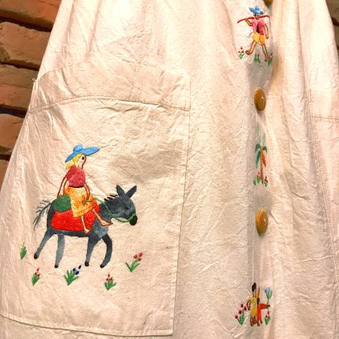 Mexican Embroidered Linen Skirt