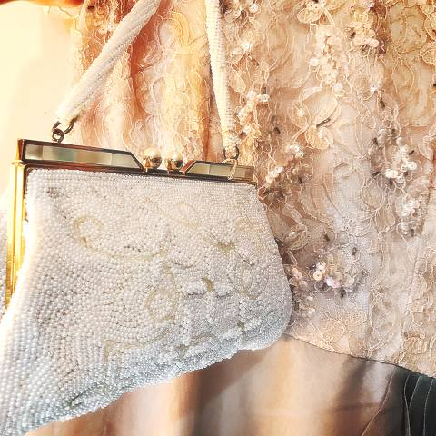 White Beaded Pearl Top Purse