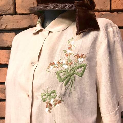 Flower Embroidery Linen Blouse
