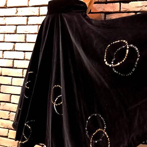 Black Velveteen Full Circle Skirt w/Sequins