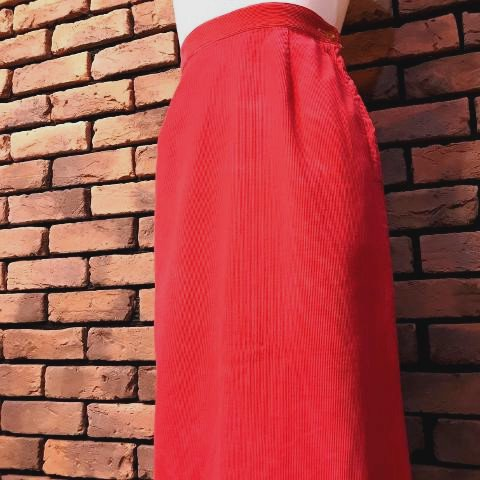 Red Corduroy Pencil Skirt