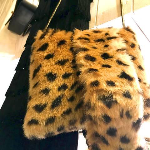 Leopard Fur Shoulder Purse w/Belt