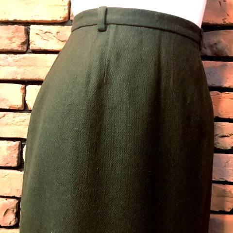 Khaki Wool Pencil Skirt