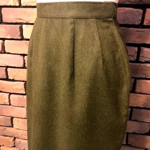 Shaggy Wool Khaki Pencil Skirt