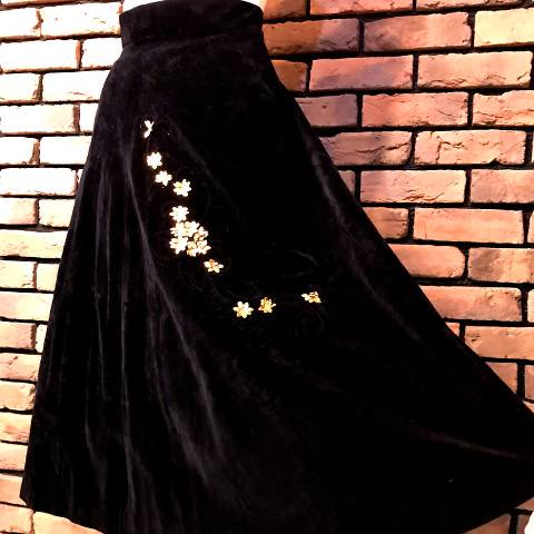 Gold Flower Black Velveteen Skirt