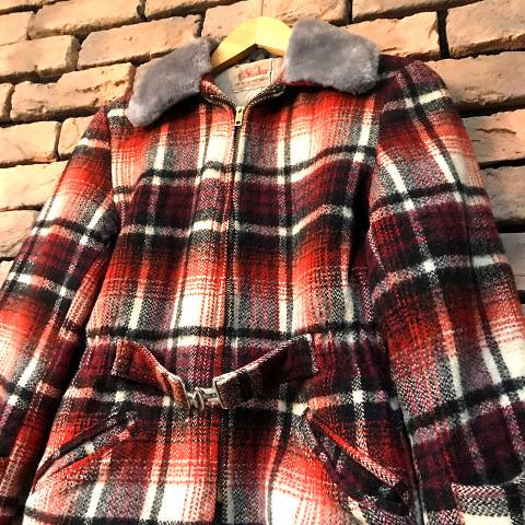 Red Plaid Sports Jacket /Boa Collar