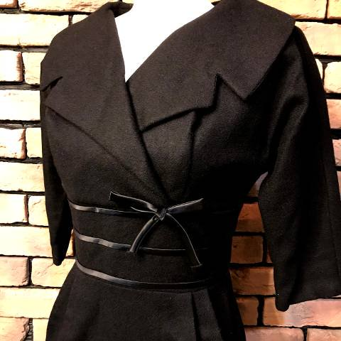 Black Wool 3/4sleeve Dress