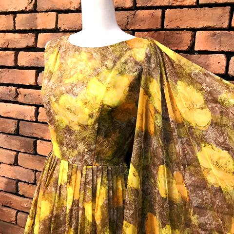 Yellow Floral Chiffon Dress