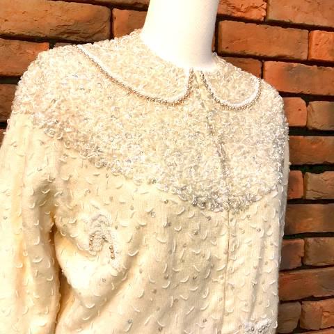 Ivory Knit Beaded Cardigan
