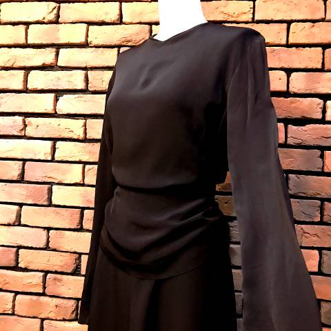 40's Black Peplum Dress