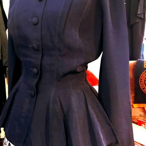 40's Peplum Navy Rayon Jacket
