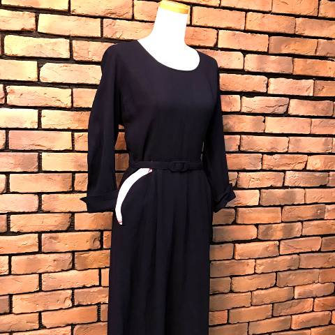 Pink Pockets Navy Rayon Dress